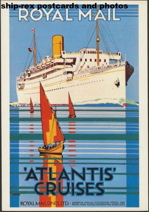 ATLANTIS (1929a, Royal Mail Lines) postcard (g2)